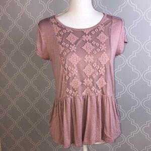 Dusty rose boho blouse Sz L